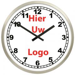 Logo op klok 50cm RVS rand cijfers