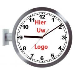 Logo op dubbelzijdige klok cijfers