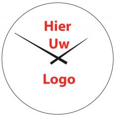 Logo op klok 40cm glas
